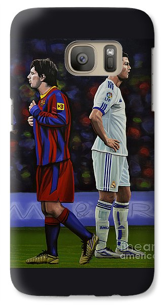 Lionel Messi And Cristiano Ronaldo Galaxy S7 Case by Paul Meijering