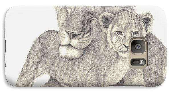 Galaxy Case featuring the drawing Lioness And Cub by Patricia Hiltz