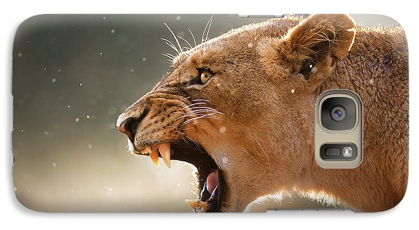 Animals Galaxy S7 Case - Lioness Displaying Dangerous Teeth In A Rainstorm by Johan Swanepoel