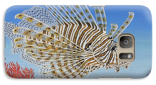 Galaxy Case featuring the painting Lionfish And Coral by Jane Girardot