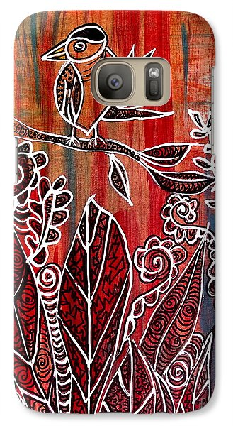 Galaxy Case featuring the painting Little Birdie by Julie  Hoyle