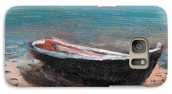Galaxy Case featuring the painting Little Black Boat by Michael Helfen