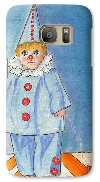 Galaxy Case featuring the painting Little Blue Clown by Arlene Crafton