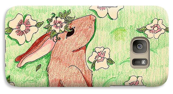 Galaxy Case featuring the drawing Little Bunny Big Dreams by Wendy Coulson