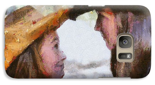 Galaxy Case featuring the digital art Happy Sisters by Carrie OBrien Sibley