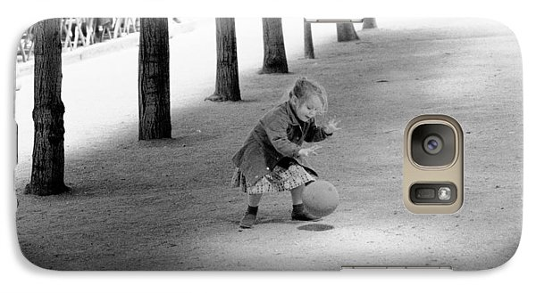Galaxy Case featuring the photograph Little Girl With Ball Paris by Dave Beckerman