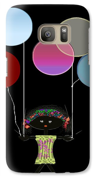 Galaxy Case featuring the digital art Little Girl With Balloons by Asok Mukhopadhyay
