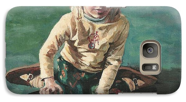 Galaxy Case featuring the painting Little Girl With Guitar by Joy Nichols