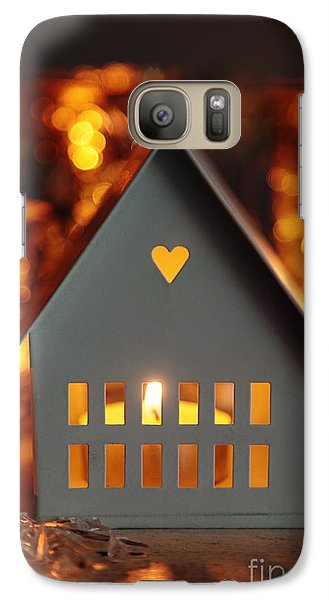Galaxy Case featuring the photograph Little Gray House Lit With Candle For The Holidays by Sandra Cunningham