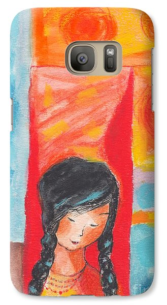 Galaxy Case featuring the painting Little Indian Girl  by Mary Armstrong