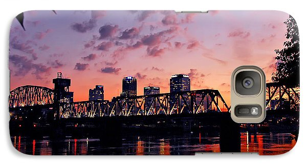 Galaxy Case featuring the photograph Little Rock Bridge Sunset by Mitchell R Grosky