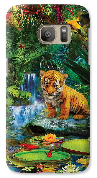 Galaxy Case featuring the drawing Little Tiger by Jan Patrik Krasny