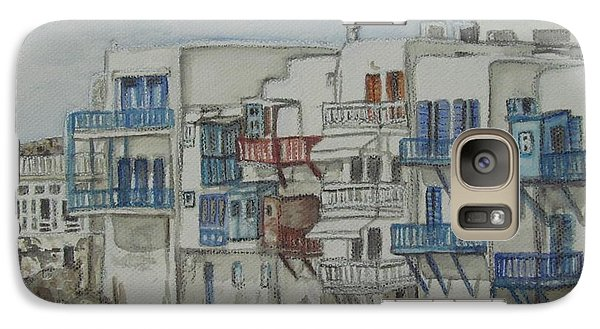 Galaxy Case featuring the painting Little Venice Mykonos Greece by Malinda  Prudhomme