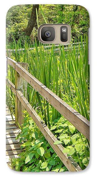 Galaxy Case featuring the photograph Little Wooden Walking Bridge by Jean Goodwin Brooks