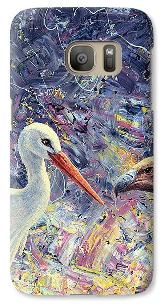 Stork Galaxy S7 Case - Living Between Beaks by James W Johnson