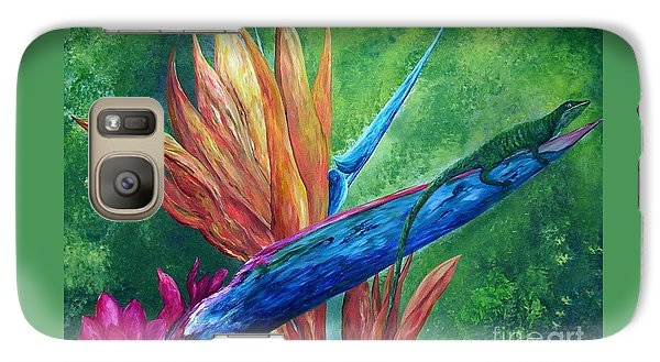 Galaxy Case featuring the painting Lizard On Bird Of Paradise by Eloise Schneider