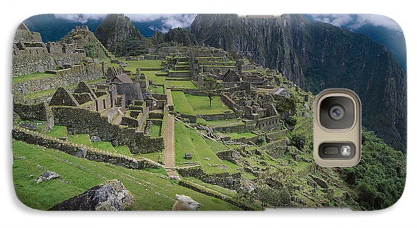 Llama At Machu Picchus Ancient Ruins Galaxy S7 Case by Chris Caldicott
