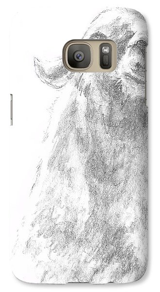 Galaxy Case featuring the drawing Llama Close Up by Andrew Gillette