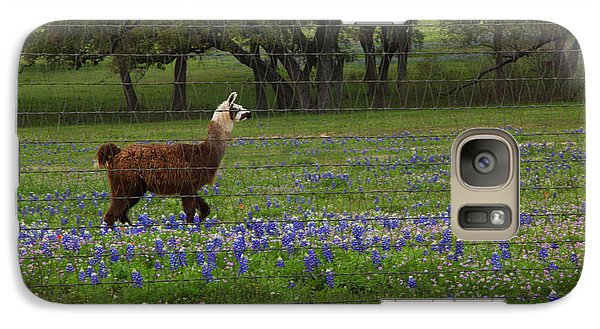 Galaxy Case featuring the photograph Llama In Bluebonnets by Susan Rovira