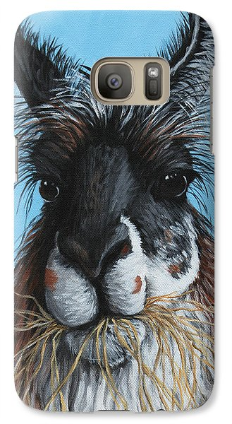 Galaxy Case featuring the painting Llama Portrait by Penny Birch-Williams