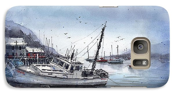 Galaxy Case featuring the painting Lobster Boat At Low Tide by Tim Oliver