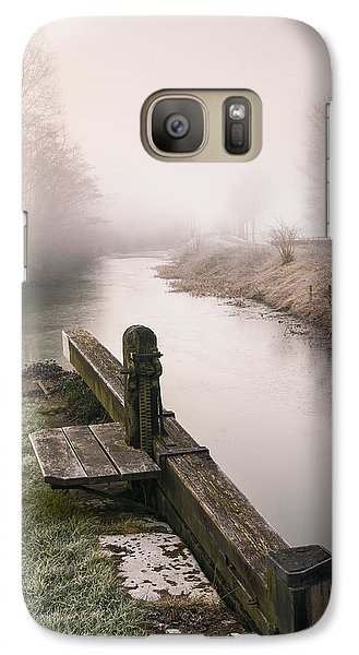 Galaxy Case featuring the photograph Lock Gates On A Still Misty Morning. by Trevor Chriss