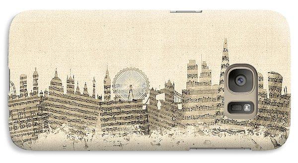 London England Skyline Sheet Music Cityscape Galaxy S7 Case by Michael Tompsett