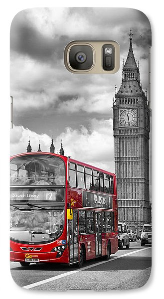 London - Houses Of Parliament And Red Bus Galaxy S7 Case