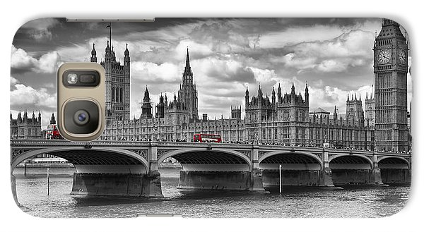 London - Houses Of Parliament And Red Buses Galaxy S7 Case