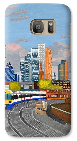 Galaxy Case featuring the painting London Overland Train-hoxton Station by Magdalena Frohnsdorff