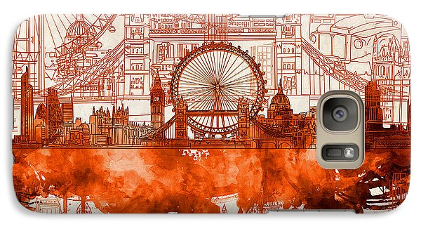 London Eye Galaxy S7 Case - London Skyline Old Vintage 2 by Bekim Art