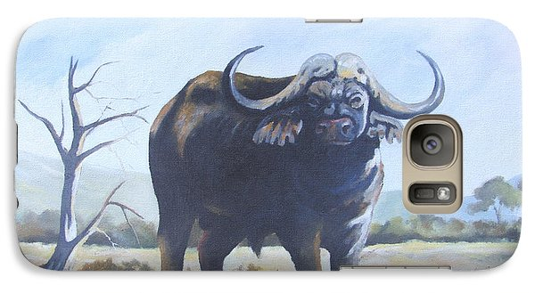Galaxy Case featuring the painting Lone Bull by Anthony Mwangi