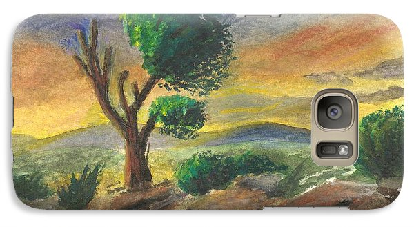 Galaxy Case featuring the painting Lone Tree At Sunset by Sherril Porter