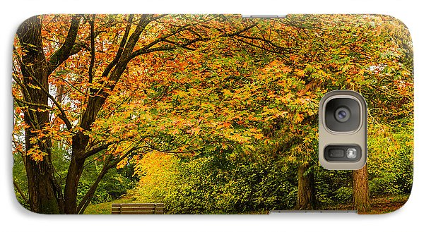 Galaxy Case featuring the photograph Lonely Autumn Bench by Chris McKenna