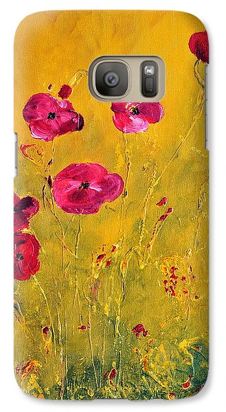 Galaxy Case featuring the painting Lonely Poppies by Teresa Wegrzyn