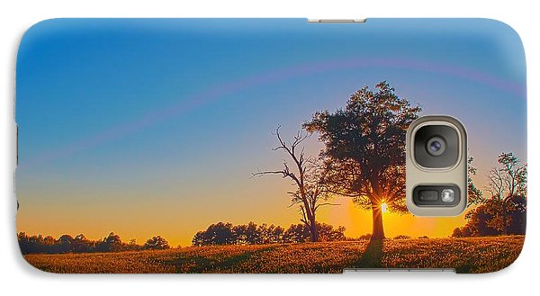 Galaxy Case featuring the photograph Lonely Tree On Farmland At Sunset by Alex Grichenko