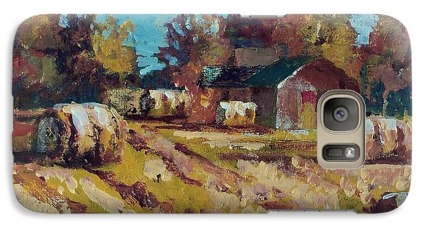 Galaxy Case featuring the painting Long Shadows Off The Hay Rolls by Jim Phillips