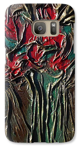 Galaxy Case featuring the mixed media Long Stem Roses by Angela Stout