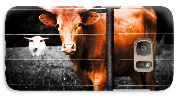Galaxy Case featuring the photograph Longhorn Curiosity by Bartz Johnson