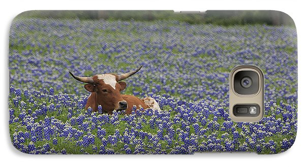 Galaxy Case featuring the photograph Longhorn In Bluebonnets by Jerry Bunger