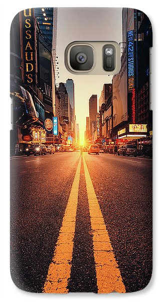 Times Square Galaxy S7 Case - Looking For The Sunset In Nyc! by Javier Del Cerro