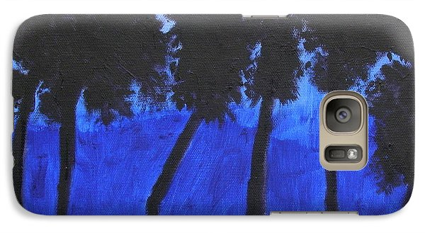 Galaxy Case featuring the painting Looming Shore At Night by Artists With Autism Inc