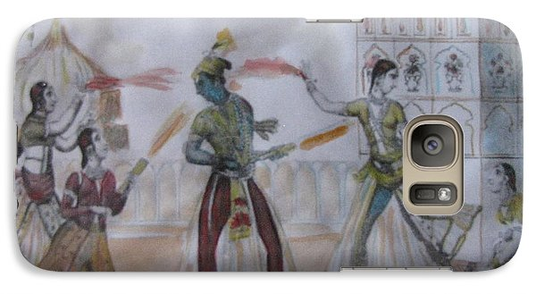 Galaxy Case featuring the painting Lord Krishna Playing Holi by Vikram Singh
