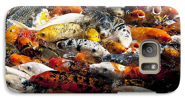 Galaxy Case featuring the photograph Lots Of Hungry Koi  by Wilma  Birdwell
