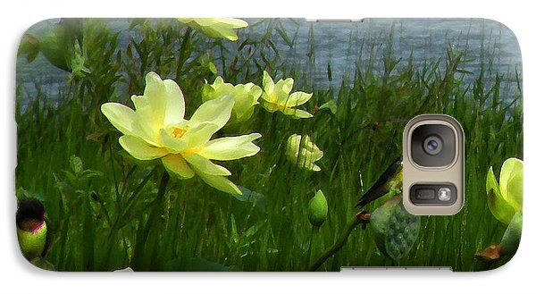 Galaxy Case featuring the photograph Lotus And Swallows by Deborah Smith