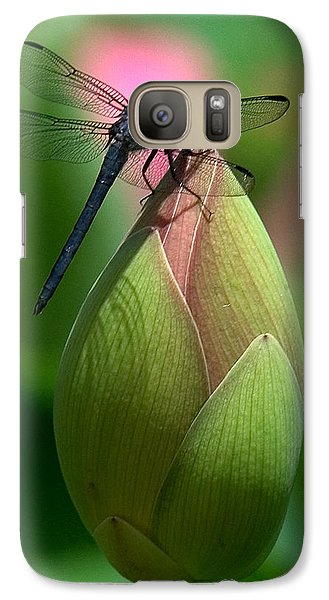 Galaxy Case featuring the photograph Lotus Bud And Slatey Skimmer Dragonfly Dl006 by Gerry Gantt