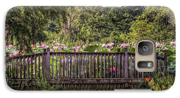 Galaxy Case featuring the photograph Lotus Garden Pond And Bridge by Jerry Gammon
