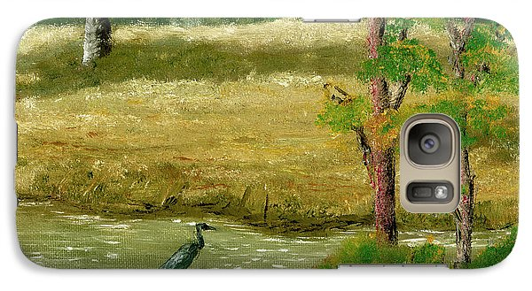 Galaxy Case featuring the painting Louisiana Pond With Heron by Lenora  De Lude