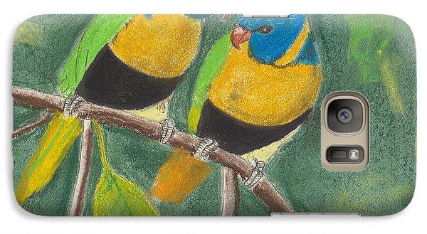 Galaxy Case featuring the pastel Love Birds by David Jackson