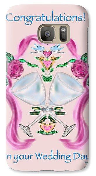 Galaxy Case featuring the digital art Love Birds Pink Wedding by Christine Fournier